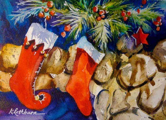 """Christmas Cheer I"" original fine art by Kathy Los-Rathburn"