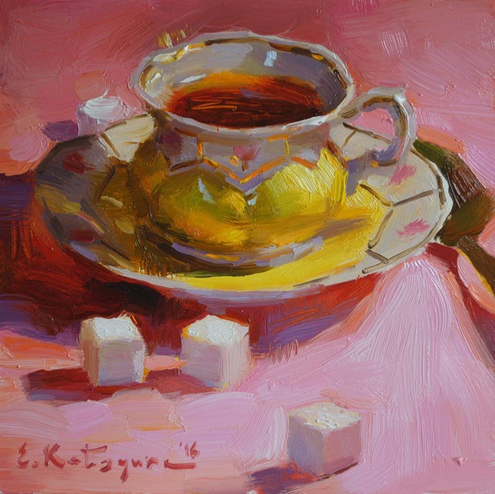 """Tea on Pink"" original fine art by Elena Katsyura"