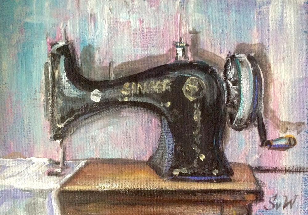"""""""Singer sewing machine painting"""" original fine art by Sonia von Walter"""