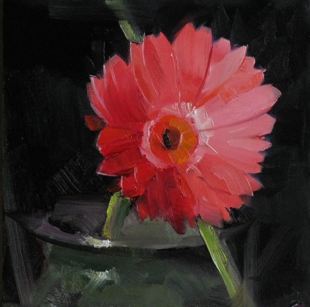 """Red Daisy Study 1"" original fine art by Qiang Huang"