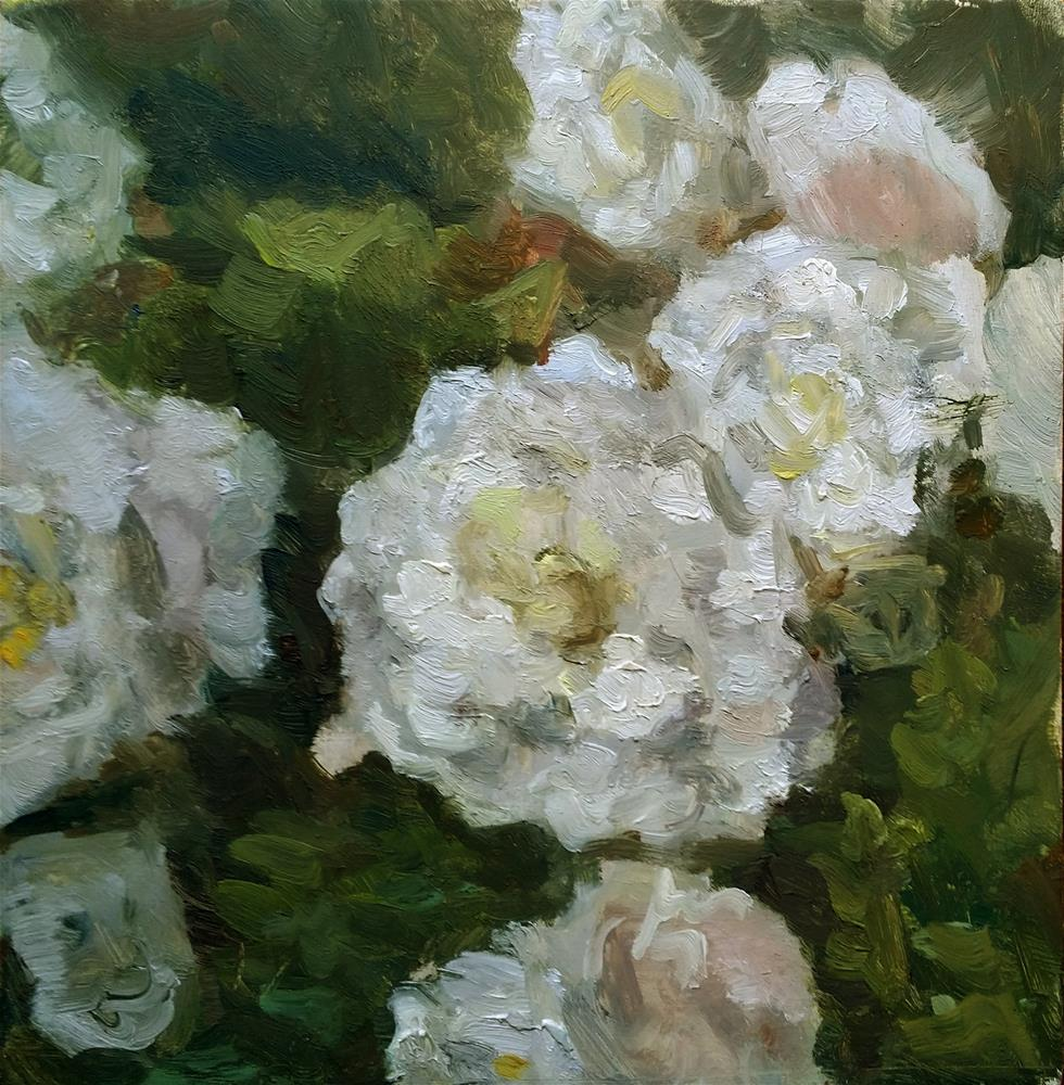 """White begonies"" original fine art by Aleksandra Uzarek"