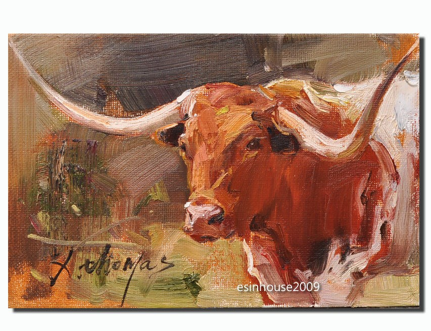"""Texas longhorn"" original fine art by Thomas Xie"