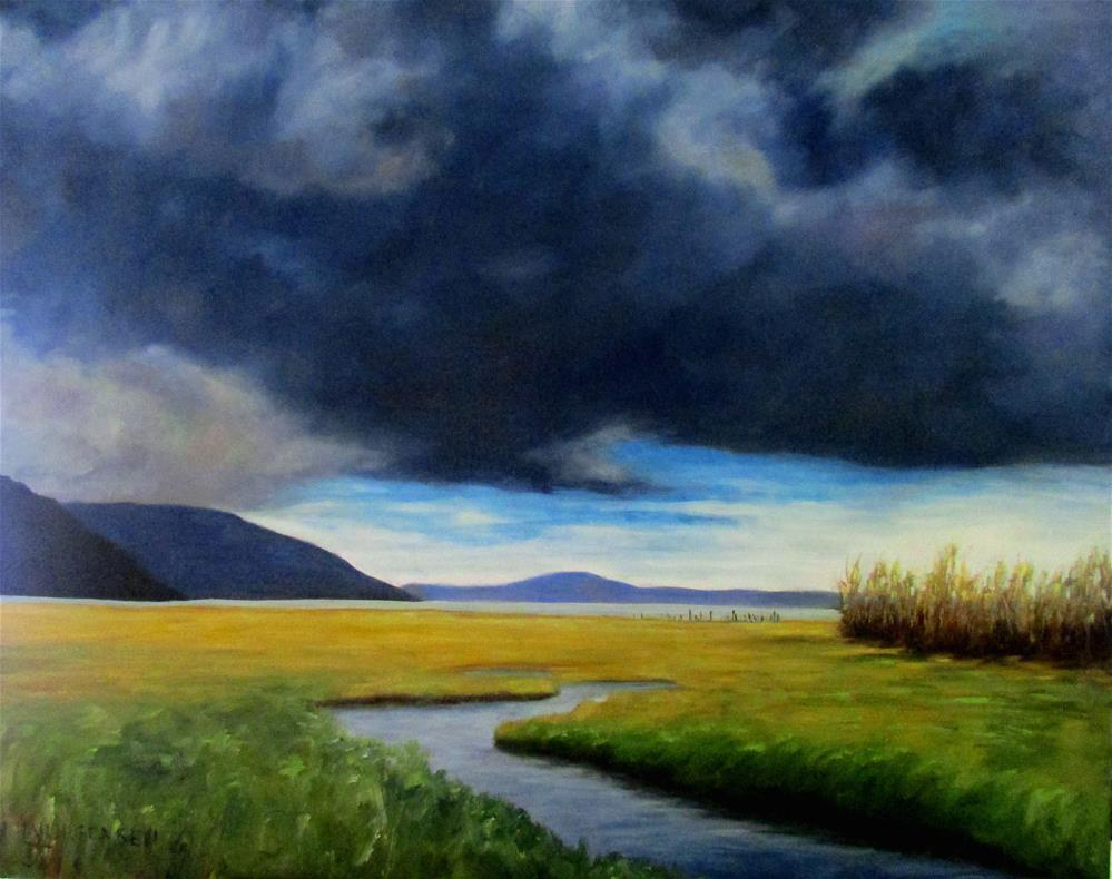 """24 x 30 inch oil Cowichan Estuary Storm"" original fine art by Linda Yurgensen"