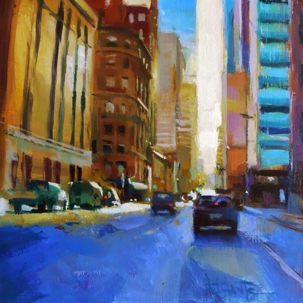 """Sunset in the city"" original fine art by Víctor Tristante"
