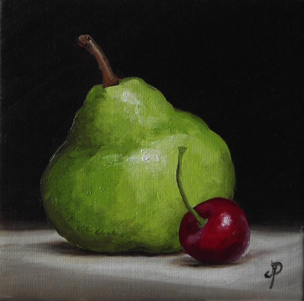 """Little Pear with Cherry"" original fine art by Jane Palmer"