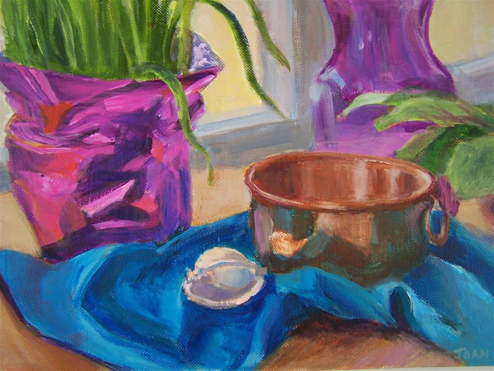 """Copper Pot with Shell"" original fine art by Joan Reive"