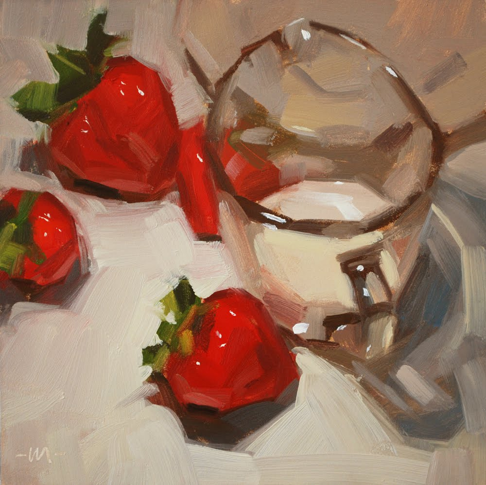 """Strawberries & Cream"" original fine art by Carol Marine"