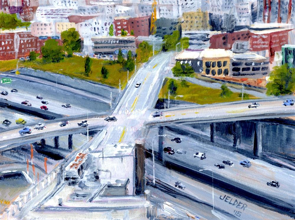 """I-5 Seattle"" original fine art by Judith Elder"