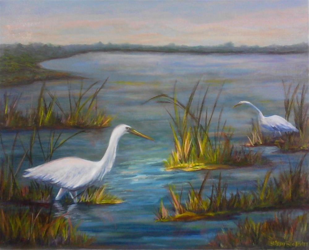"""Two Egrets"" original fine art by Sissy Blakslee"