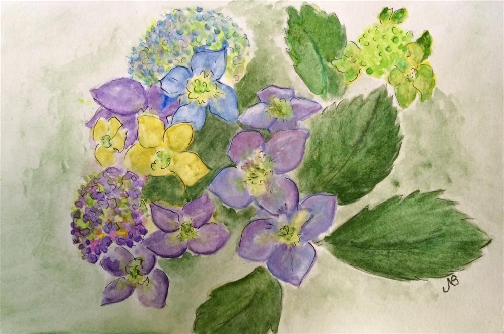 """""""Hydrangea # 7 6 x 9 watercolor"""" original fine art by Nancy Beard"""