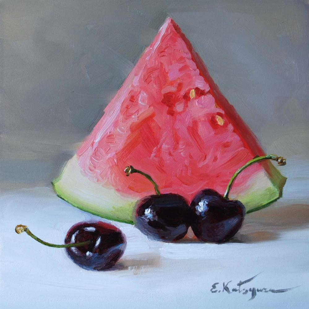 """Watermelon and Cherries"" original fine art by Elena Katsyura"