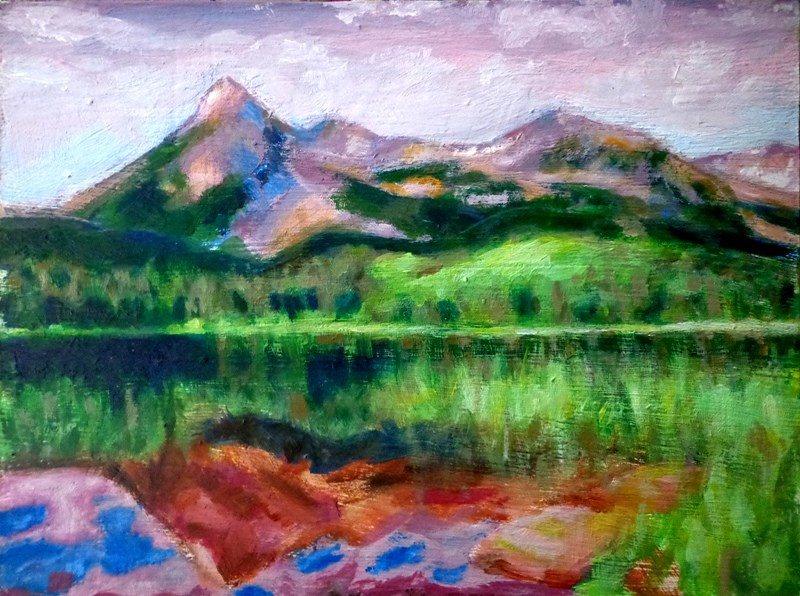 """Mountains"" original fine art by Maria Z."