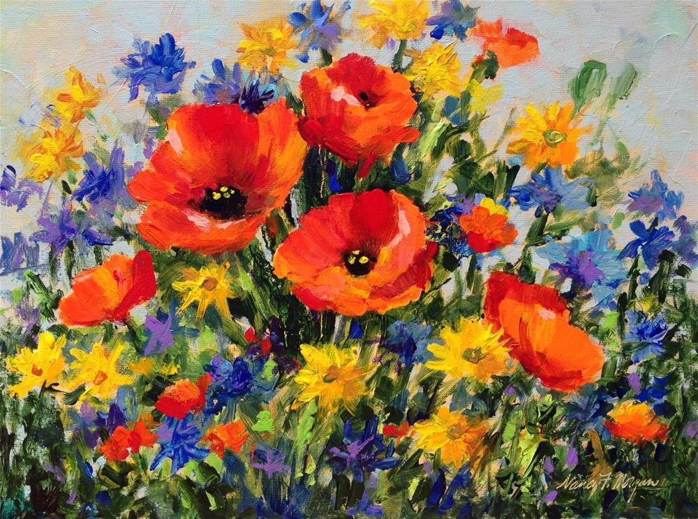 """Good Day for Poppies"" original fine art by Nancy F. Morgan"