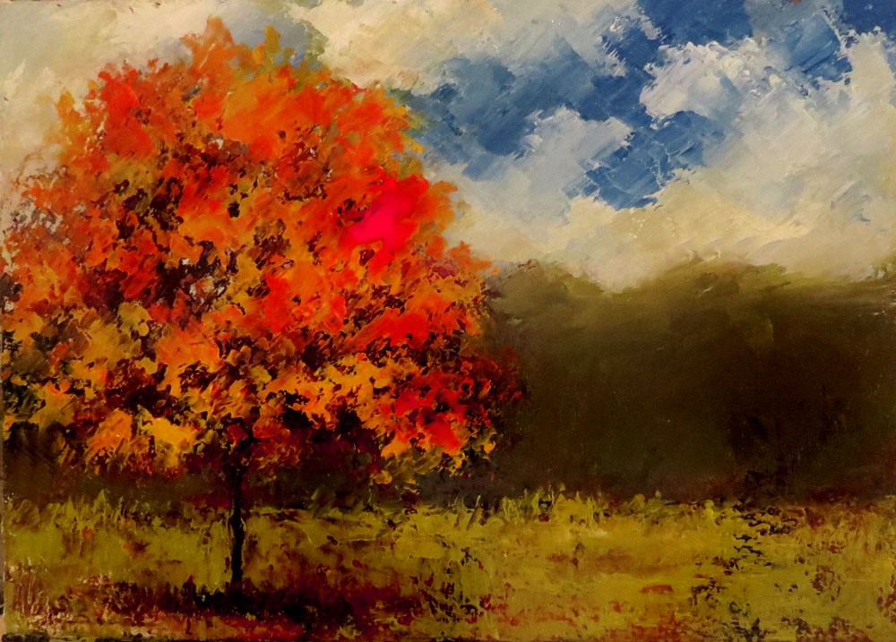 """Orange Glory Maple Tree"" original fine art by Bob Kimball"