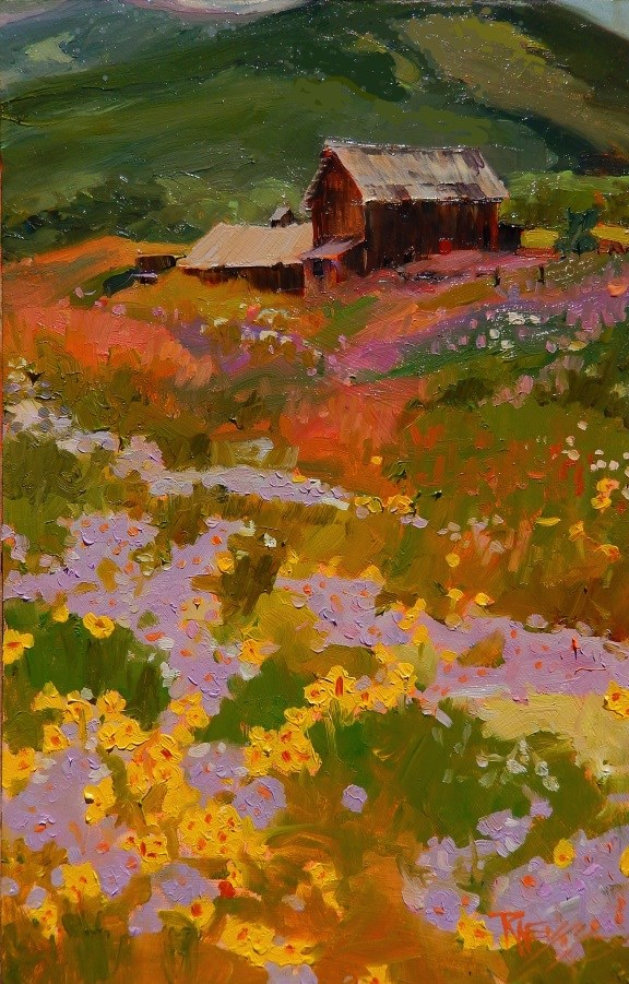 """Barns and Beauty  Crested Butte, plein air, landscape painting by Robin Weiss"" original fine art by Robin Weiss"