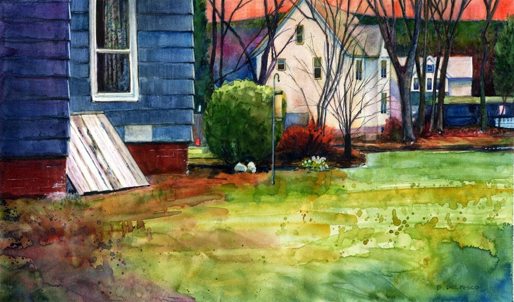 """Watercolor: Bulkhead in New England"" original fine art by Belinda Del Pesco"