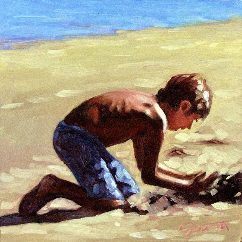 """Sand Digger"" original fine art by Joanna Bingham"