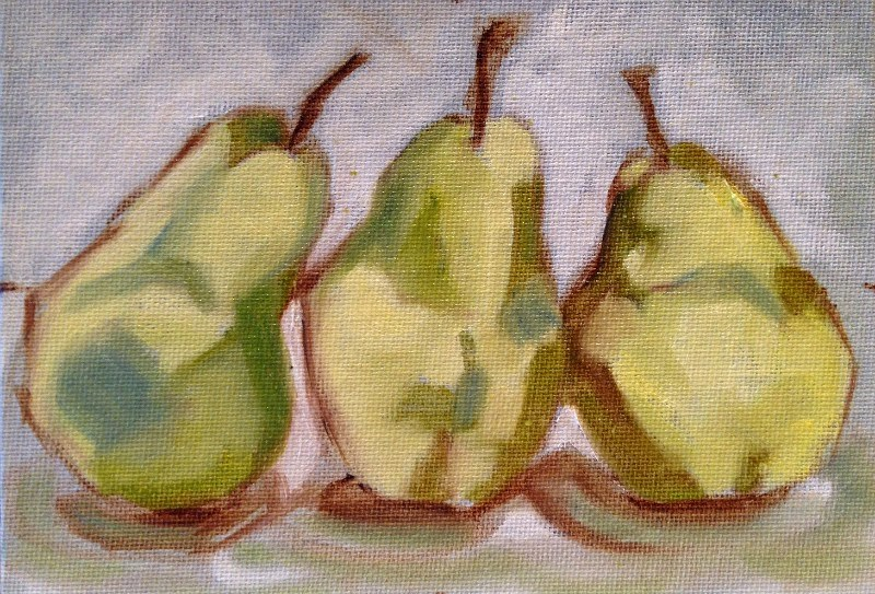 """Three-Pear Study I"" original fine art by Beth Moreau"