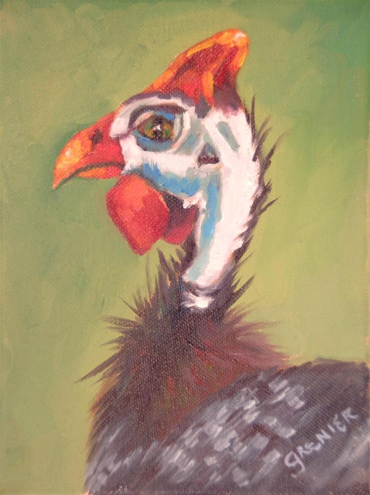 """Original Oil Painting Guinea Fowl 6X8 Farm Animal"" original fine art by jean grenier"
