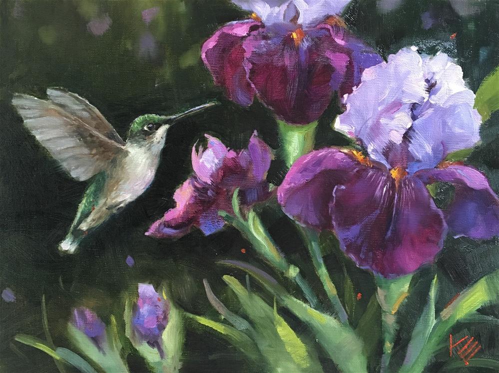 """Lady & Purple Irises"" original fine art by Krista Eaton"