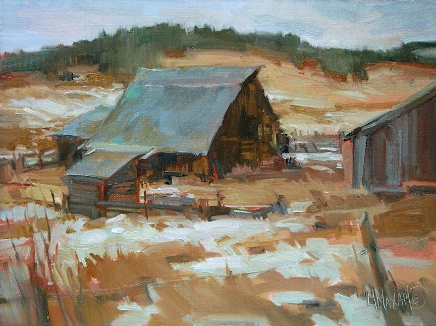 """Winter Barn and Painting Without Solvents"" original fine art by Mary Maxam"
