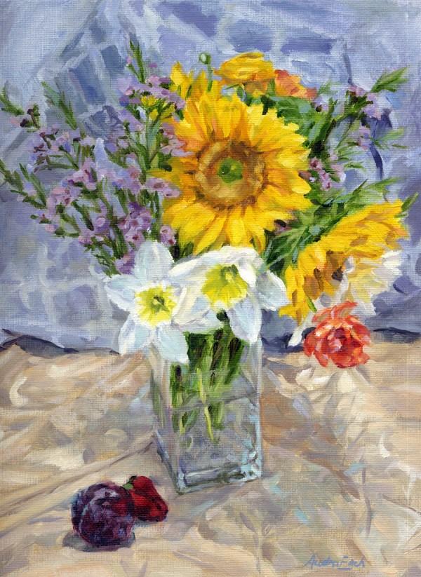 """""""Sunflower and Daffodils"""" original fine art by Audra Esch"""