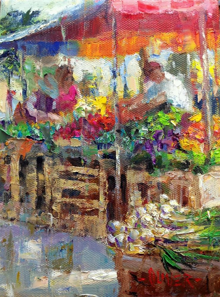 """Farmers Market #1 and winner of the painting."" original fine art by Julie Ford Oliver"