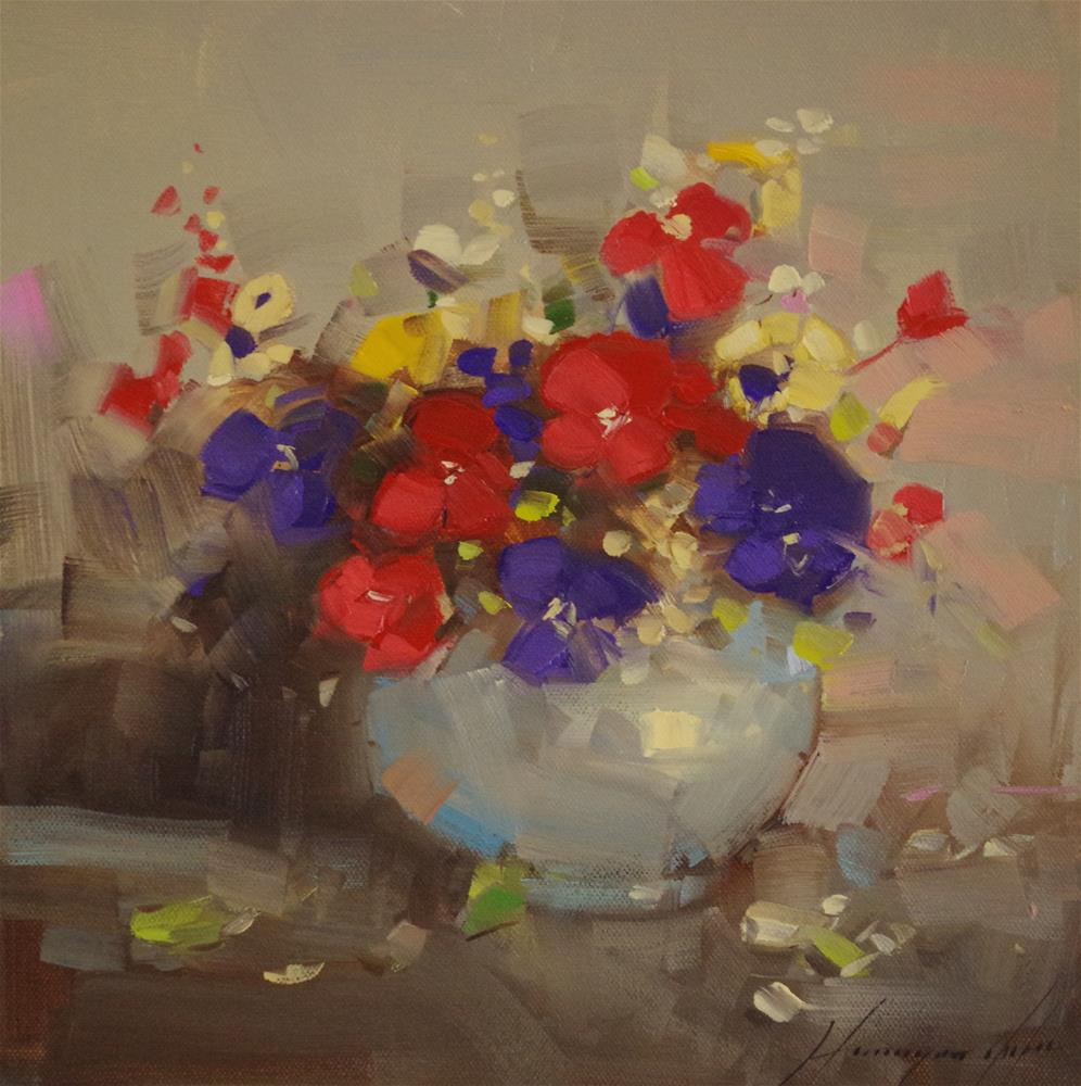 """Vase of Pansies, Original oil Painting, Canvas art"" original fine art by V Yeremyan"