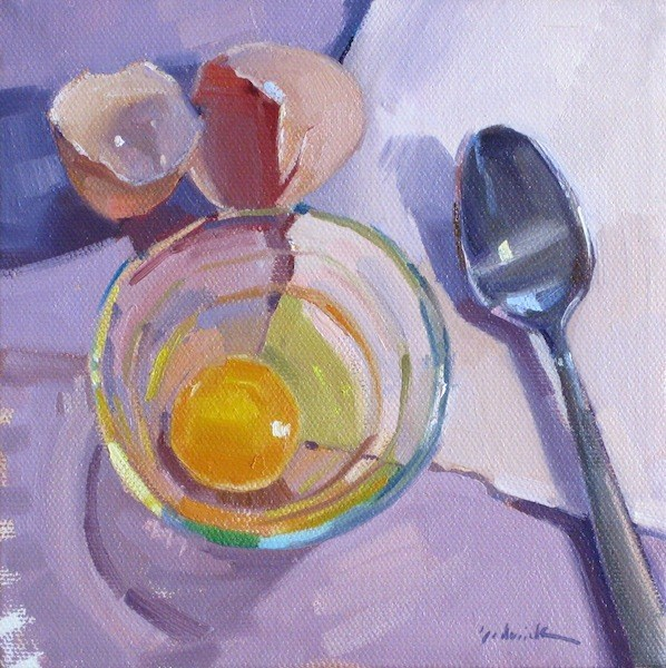 """Ready to Poach still life oil painting wall art kitchen decor  brown egg spoon eggshells"" original fine art by Sarah Sedwick"