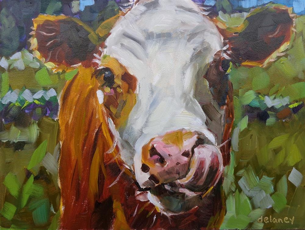 """""""Cow 148 SLURP"""" original fine art by Jean Delaney"""