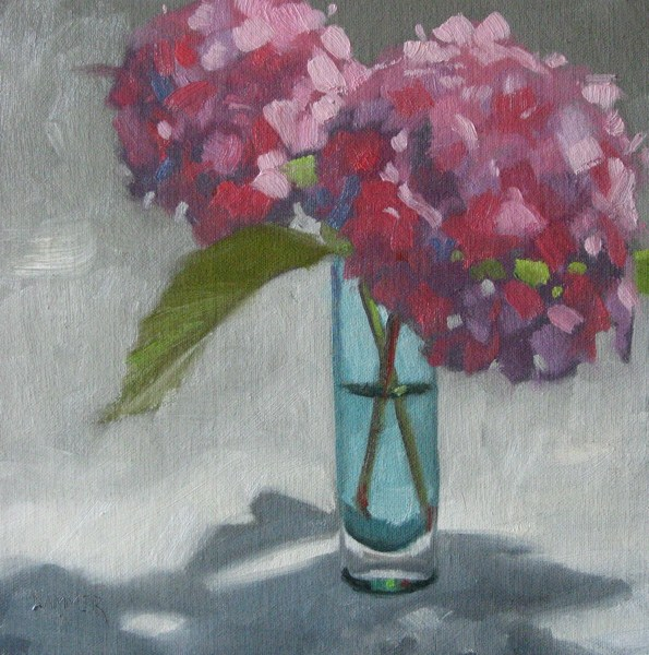 """Two Hydrangeas 8x8 oil"" original fine art by Claudia Hammer"