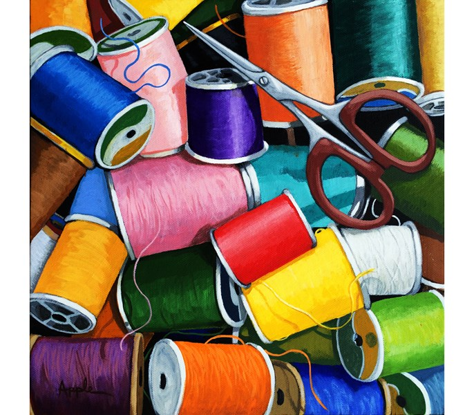 """Colorful Sewing thread & scissors ORIGINAL realistic still life painting by Linda Apple"" original fine art by Linda Apple"