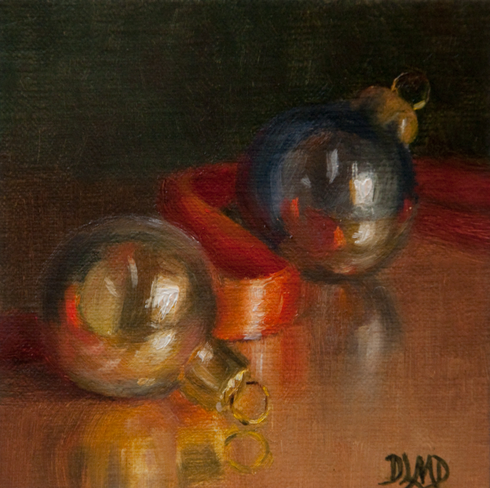 """Baubles and Ribbon"" original fine art by Debbie Lamey-Macdonald"