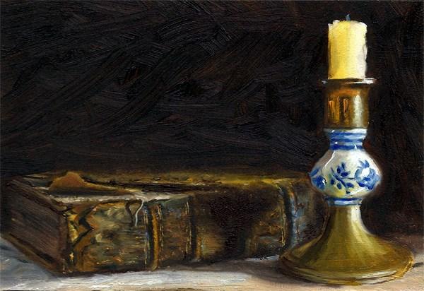 """Antique book with candlestick"" original fine art by Peter J Sandford"