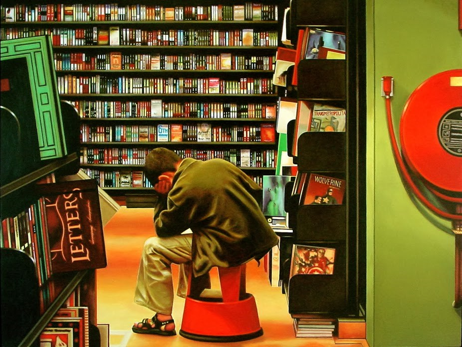 """The Thinker- Painting Of A Young Man Reading In Bookstore"" original fine art by Gerard Boersma"