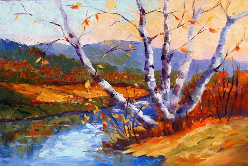 """Autumn Calm oil painting"" original fine art by Marion Hedger"