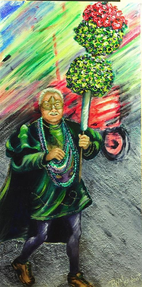 """Mardi Gras Marcher"" original fine art by Peggy W Morvant"