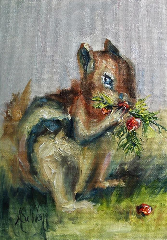 """For These Berries I Am Thankful animal painting by Alabama Artist Angela Sullivan"" original fine art by Angela Sullivan"