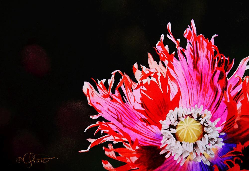"""Mardi Gras Poppy"" original fine art by Jacqueline Gnott, TWSA, WHS"