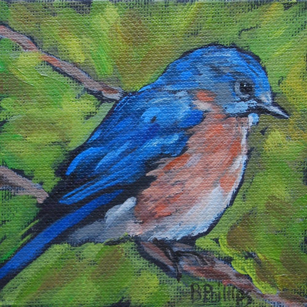 """Blue bird"" original fine art by Beverley Phillips"