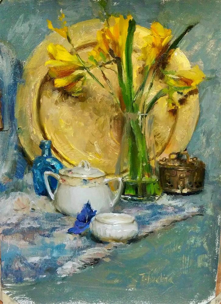 """white and yellow"" original fine art by Taisia Kuklina"
