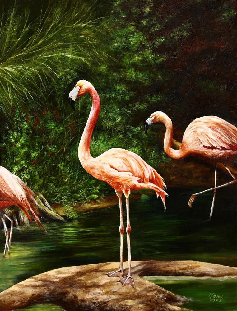 """Flamingos"" original fine art by Aaron Grabiak"