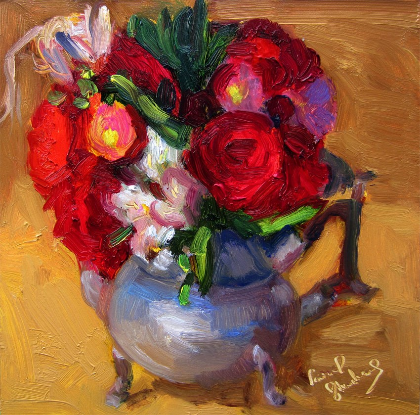 """Red Roses in Kettle, Gold"" original fine art by Carol Steinberg"