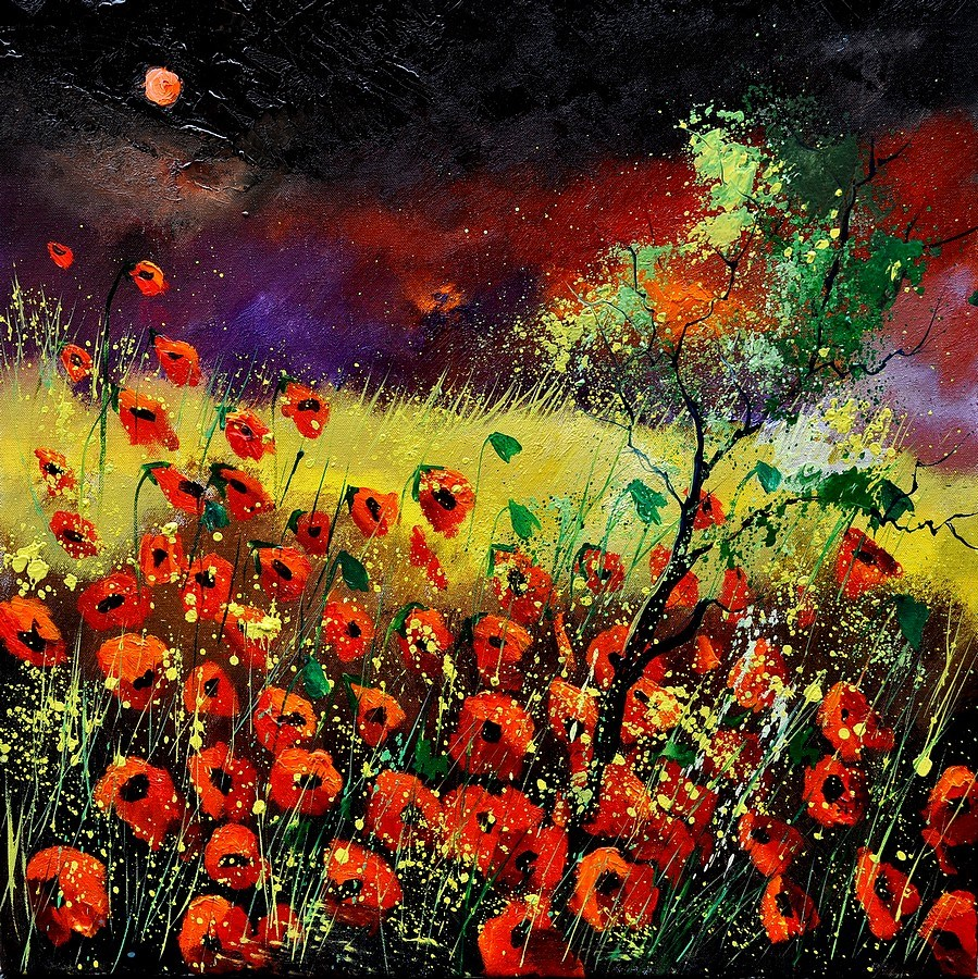 """Red poppies"" original fine art by Pol Ledent"