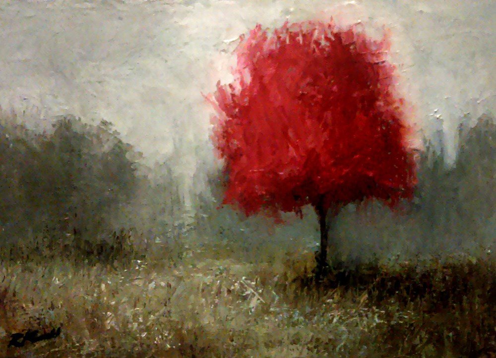 """A Red Tree"" original fine art by Bob Kimball"