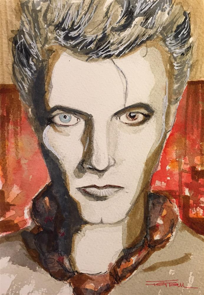 """DAVID BOWIE -Screaming Lord Byron on Blue Jean-"" original fine art by Ferran Llagostera"