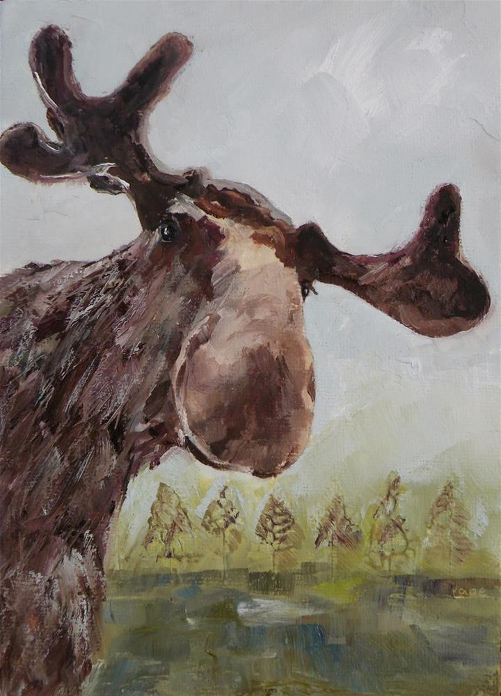 """MOOSE ADDED TO MY ETSY; ORIGINAL OIL ON TEXTURED PANEL © SAUNDRA LANE GALLOWAY...AND, A HAPPY"" original fine art by Saundra Lane Galloway"