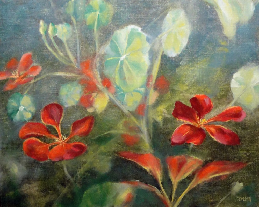 """Red Nasturtium Vine"" original fine art by Dalan Wells"
