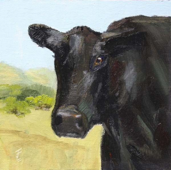 """Curious Bovine or Nosy Cow"" original fine art by Jane Frederick"