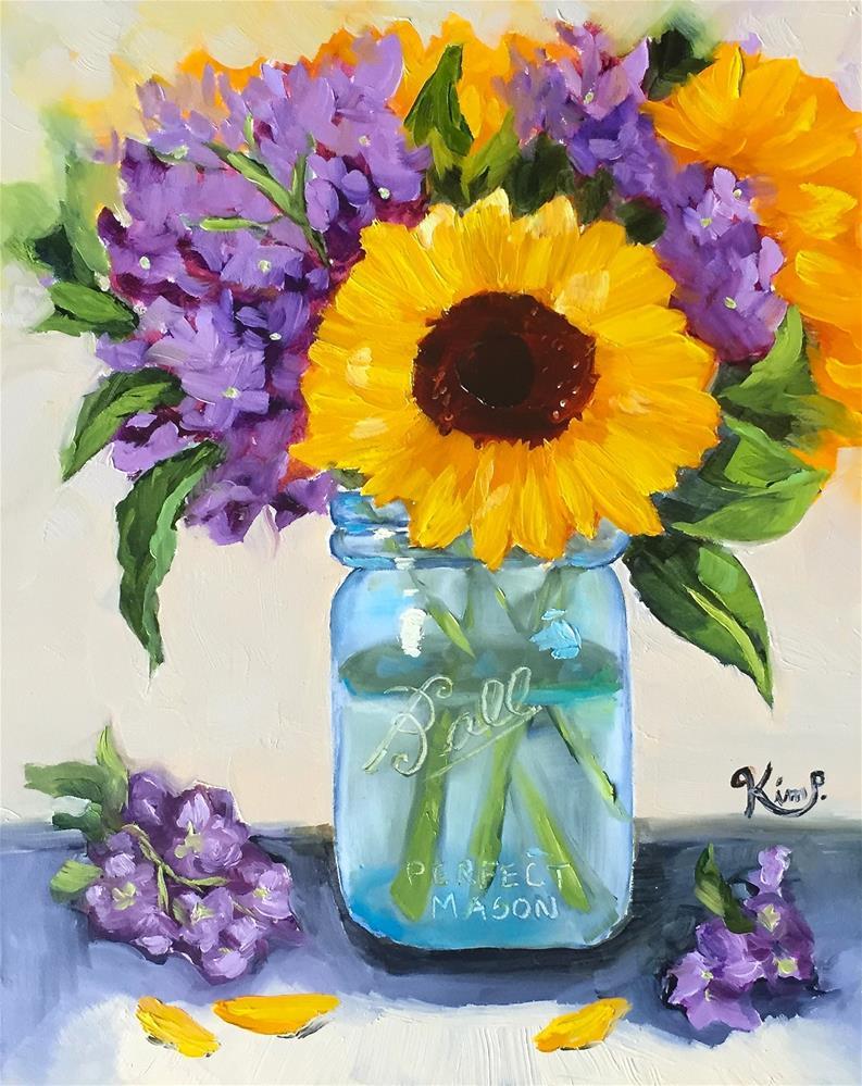 """Sunflowers in Blue Mason Jar"" original fine art by Kim Peterson"